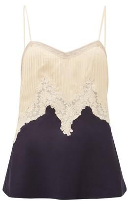 Gabriela Hearst Smith Lace-trimmed Silk-blend Cami Top - Womens - Dark Navy