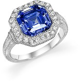 Judith Ripka Sterling Silver Asscher Ring with Lab-Created Blue Corundum and White Sapphire