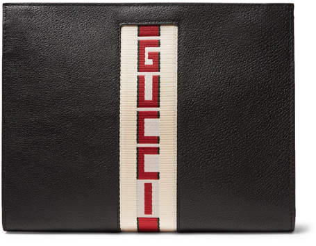 Gucci Webbing-Trimmed Leather Pouch