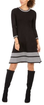 Jessica Howard Petite Border-Print Sweater Dress