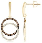 Angara.com Interlocking Brown and White Diamond Circle Dangle Earrings in Platinum
