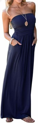 Smile Fish Women's Strapless Maxi Dress Summer Tube Top Elasticated Sheering Beach/Party Dress(Navy Blue XL)