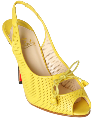 Christian Louboutin yellow perforated nappa 'Submaria' sandals