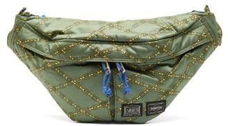 Aries X Porter Chain-print Technical Cross-body Bag - Womens - Khaki Multi