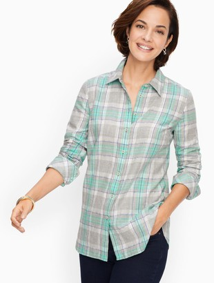 Talbots Classic Cotton Shirt - Dazzling Plaid