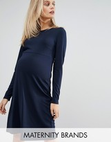 Mama Licious Mama.licious Mamalicious Long Sleeve Jersey Skater Dress