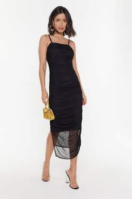 Nasty Gal Womens Dance the Night Away Ruched Midi Dress - black - 14