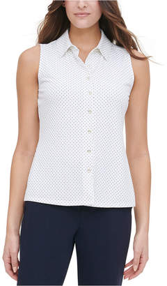 Tommy Hilfiger Polka-Dot Button-Up Top