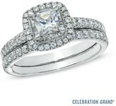 Zales Celebration Grand® 1 CT. T.W. Princess-Cut Diamond Frame Bridal Set in 14K White Gold (I-J/I1)