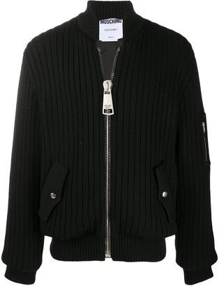 Moschino Oversized Zipper Ribbed Cardigan