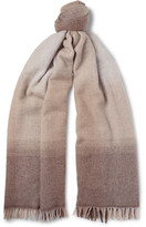 Brunello Cucinelli Dégradé Wool And Cashmere-blend Scarf - Beige