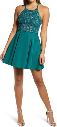 Speechless Caviar Pleated Skirt Satin Minidress