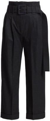 Brunello Cucinelli Fancy Merino Wool Belted Pants