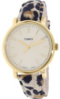 Timex Women's Heritage TW2P69800 Cheetah Suede Printed Leather Quartz Fashion Watch