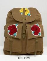 Reclaimed Vintage Backpack With Rose Badges