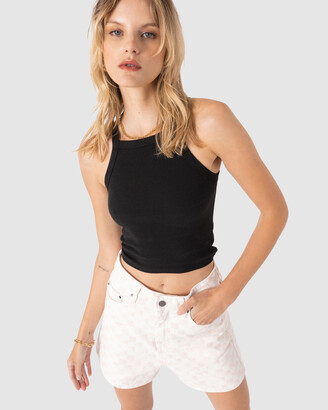 Cools Club - Women's Black Singlets - Badge Rib Tank - Size One Size, 6 at The Iconic