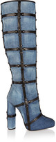 Tom Ford Patchwork Denim And Leather Knee Boots - Blue