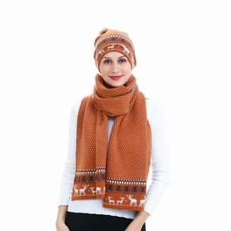 Jenell 2 Pcs matching Womens Ladies Cashmere Wool Blend Scarf And Bobble Hat Set Variety of Styles Knit (TAN REINDEER)