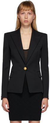 Balmain Black Wool Single-Button Blazer