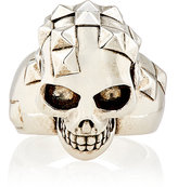 Alexander McQueen Men's Pixelated Skull Ring-SILVER