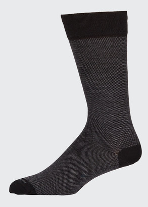 Marcoliani Milano Men's Micro-Pattern Wool-Blend Socks