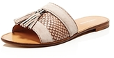 Pour La Victoire Lake Snake Embossed Tassel Slide Sandals