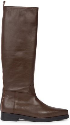 Low Classic Western brown leather knee-high boots