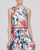 Nicole Miller Top - Botanical Print Crop