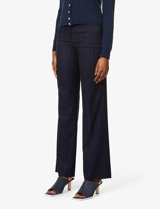 Musier Paris Beverly striped wide-leg high-rise woven trousers
