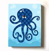 MuralMax Under The Sea Ocean Theme - Stretched Canvas Nursery Wall Art Decor - Adorable Octopus Design That Makes a Memorable Baby Gift Idea - High Quality 100% Wooden Frame Construction - Ready To Hang 12X16