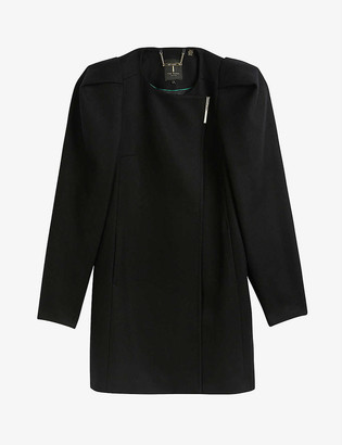 Ted Baker Zylaa puff-shoulder wool and cashmere-blend coat