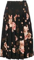 Rochas rose printed pleated skirt