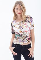 Forever 21 FOREVER 21+ Contemporary Boxy Floral Print Top