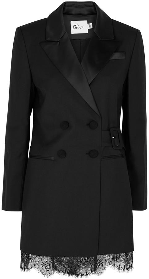 Self-Portrait Black lace-trimmed twill blazer dress