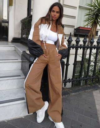 Asos DESIGN tracksuit jogger with colour blocking co-ord in camel