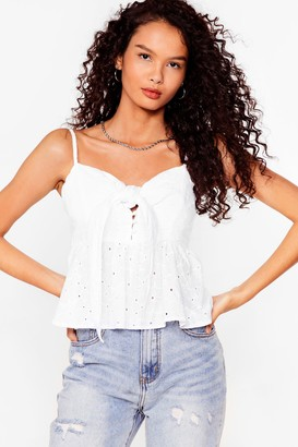 Nasty Gal Womens Worth a Tie Broderie Cami Top - White - 8