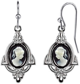 2028 Silver-Tone Simulated Cameo Drop Earrings