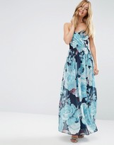 Asos WEDDING Chiffon Bandeau Blue Floral Printed Maxi Dress