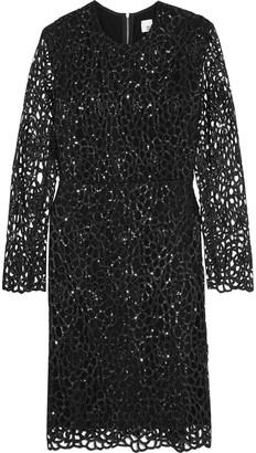 Iris & Ink Ray Sequined Laser-cut Cady Mini Dress