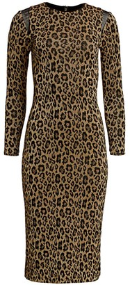 le superbe Kate Glitter Leopard-Print Maxi Bodycon Dress