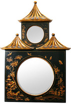 One Kings Lane Vintage Chinoiserie Decorated Pagoda Mirror - N.P.Trent Antiques - black/gold/chinese red