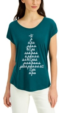Style&Co. Style & Co Petite Tree-Graphic T-Shirt, Created for Macy's