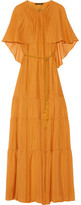 Rachel Zoe Melina Cape-effect Silk-chiffon Maxi Dress - Saffron
