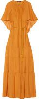 Rachel Zoe Melina Cape-effect Silk-chiffon Maxi Dress - Saffron