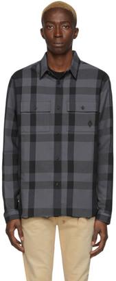 Marcelo Burlon County of Milan Grey and Black Logo Check Shirt