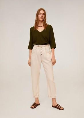 MANGO V-neckline sweater khaki - S - Women