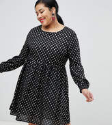 Glamorous Curve long sleeve smock dress in gold spot