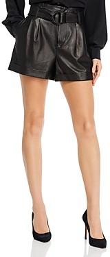 Frame Paperbag-Waist Leather Shorts