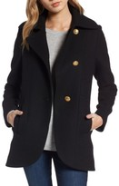 French Connection Women's Back Belt Wool Blend Peacoat