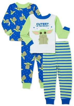 Star Wars Baby Yoda Toddler Boys Long Sleeve Snug Fit Cotton Pajamas, 4pc Set